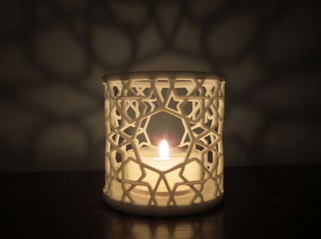 Islamic Tealight Holder in White Strong & Flexible