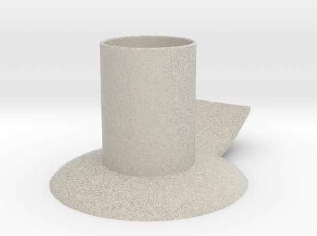 Candle holder with handle full version ø 21 mm in Natural Sandstone