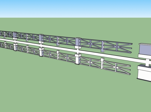 Large-star railing HO 3d printed Star-design concrete railings in HO scale. Two railings plus two large end pedestals on a single sprue.