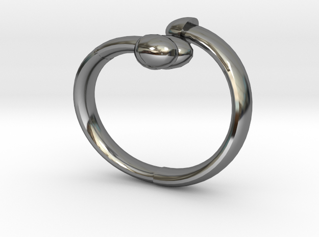 The D Ring - Sz.9 in Fine Detail Polished Silver
