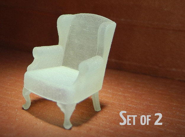 1:48 Queen Anne Wingback Chairs (Set of 2) in Smooth Fine Detail Plastic