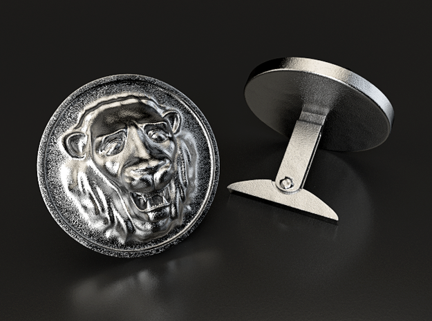 Lion Cufflinks 3d printed This is a 3D render of the model with steel texture