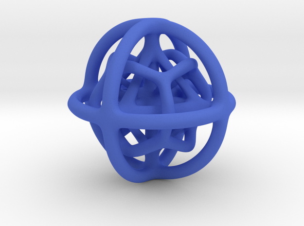 Gyroid 01 in Blue Processed Versatile Plastic