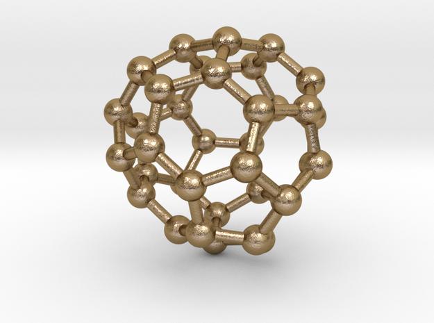 0042 Fullerene c36-14 d2d in Polished Gold Steel