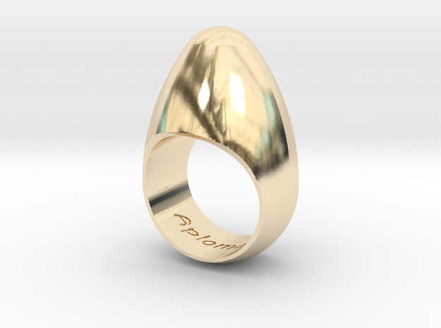Egg Ring Size 7 in 14k Gold Plated Brass