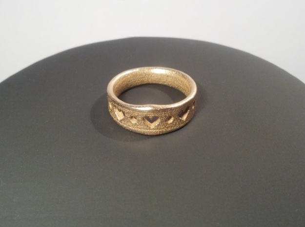 Heart Ring in Polished Bronzed Silver Steel