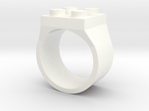 Brick Ring 4 Stud Type III in White Processed Versatile Plastic