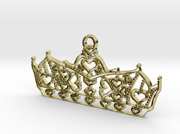 Queen of Hearts crown tiara charm or pendant 2mm t