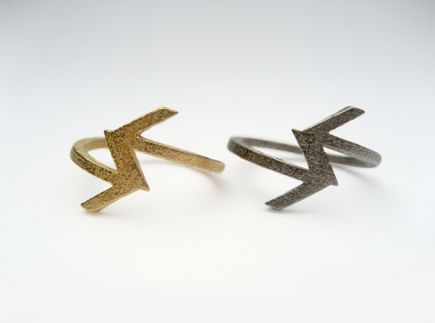 Arrow Ring (Size 7) in Polished Gold Steel