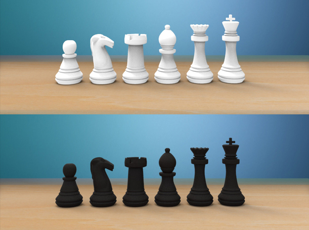 Chess Set (1x Each Piece) in White Strong & Flexible Polished