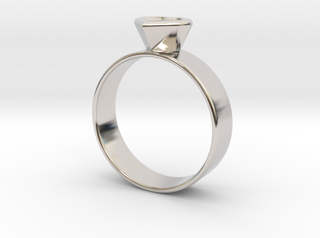 Ring with heart in Rhodium Plated