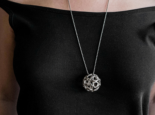 Sphere pendant in Polished Bronzed Silver Steel