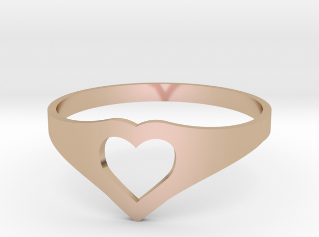 Negative Space Heart Ring (Sz 6) in 14k Rose Gold Plated Brass