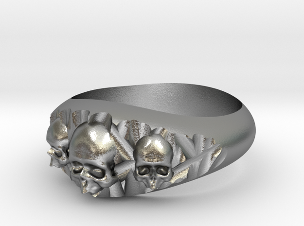 Cutaway Ring With Skulls Sz 8 in Natural Silver
