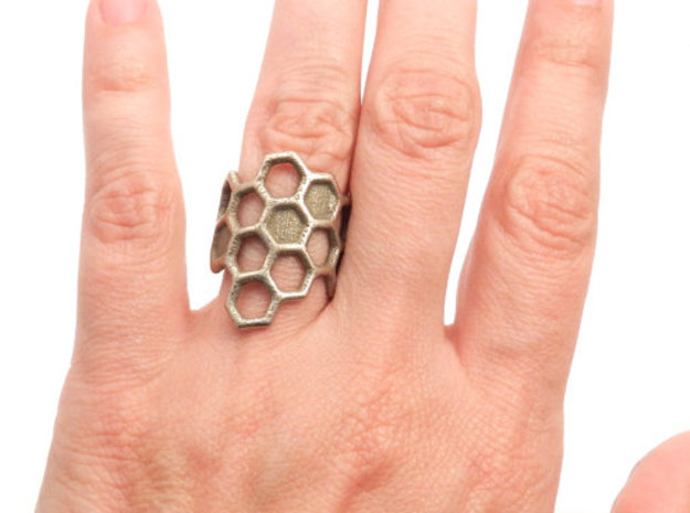 Honeycomb Ring in Stainless Steel