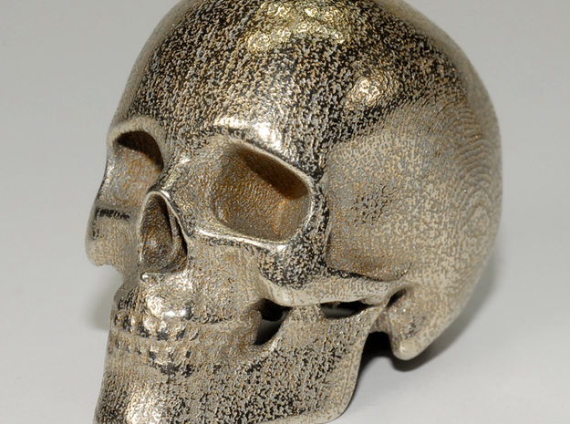 human skull - 5 cm in Polished Bronzed Silver Steel