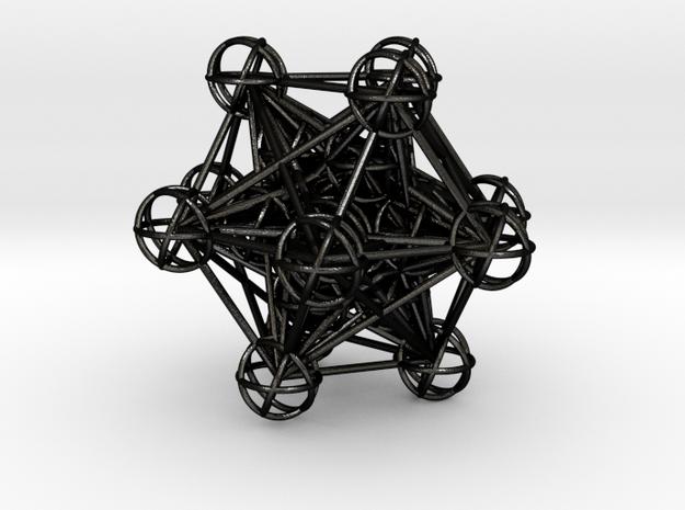 The full 3d Metatrons Cube 59mm Sacred Geometry in Matte Black Steel