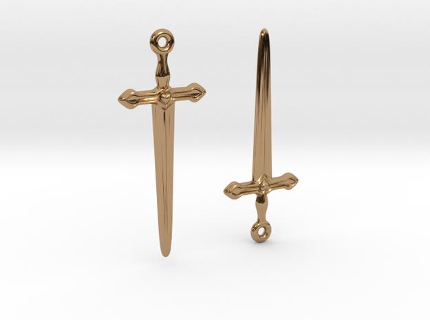 Dagger Earrings01 in Polished Brass