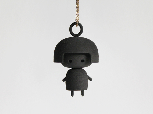 Doll Pendant in Black Natural Versatile Plastic