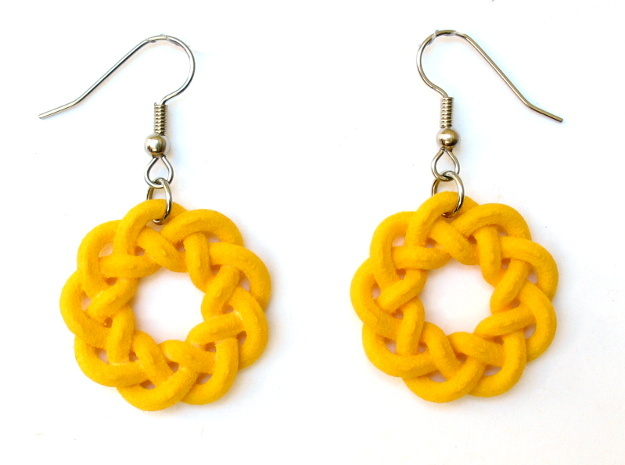 Woven Starburst Earrings - Large in Yellow Processed Versatile Plastic