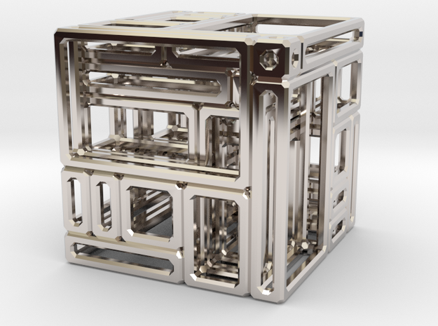 Another Simple Imperfect Bricked Cube (SIBC) in Rhodium Plated Brass