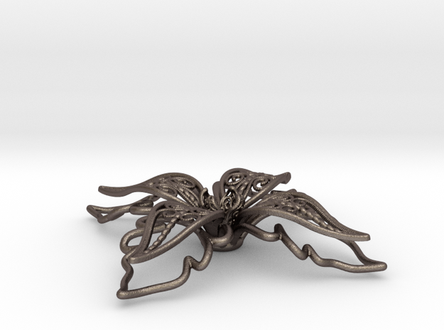 fleur de lys, giglio, lily in Polished Bronzed Silver Steel