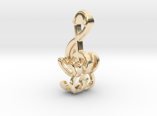 """Treble Electric Guitar"" Perspective Pendant 3d printed Gold Plated Brass Pendant"