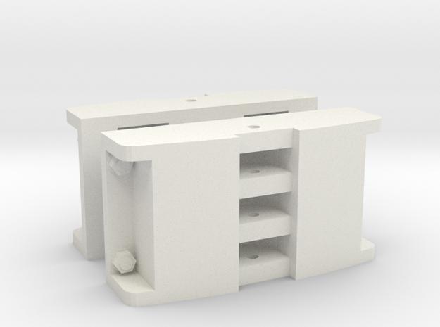 Gn15 Deutz style Loco / Lok couplings x 2 (1:24) in White Strong & Flexible