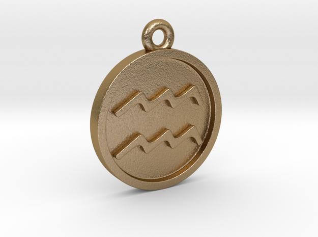 Aquarius/Wassermann Pendant in Polished Gold Steel
