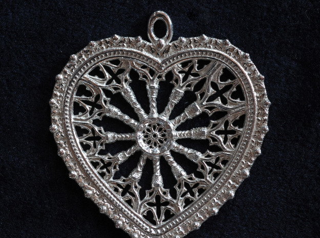 rose window heart in Polished Silver