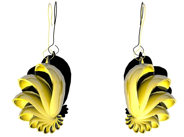 Spectralized Shell Earings 3d printed