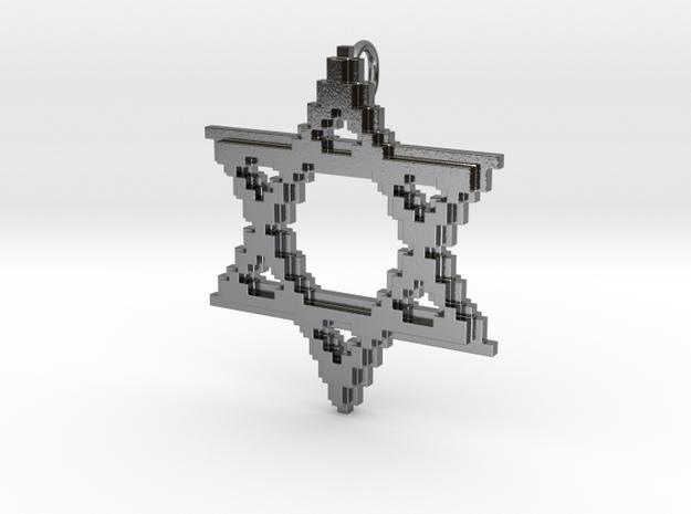 8-Bit Star of David pendant (big) in Polished Silver