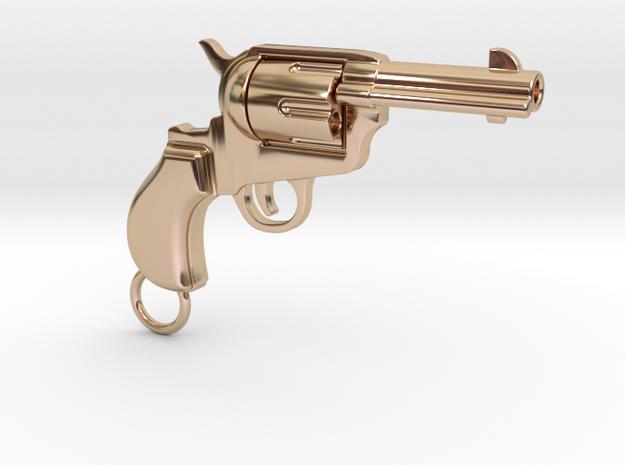 Gun pendant Colt in 14k Rose Gold Plated Brass