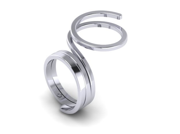Wrap Ring in Rhodium Plated
