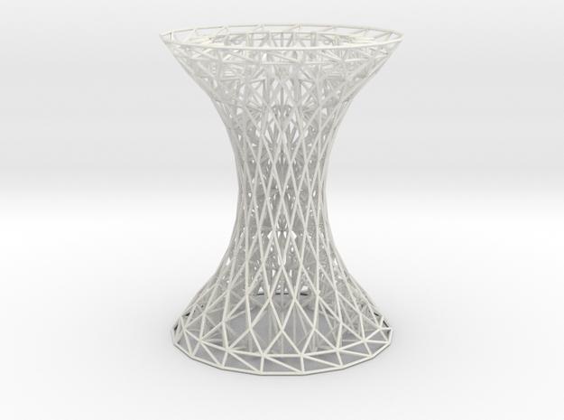 Column Rhombus Grid Hyperboloid in White Natural Versatile Plastic