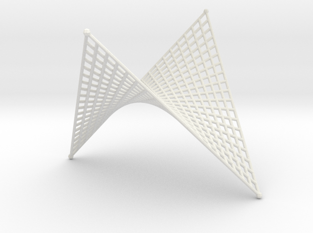 Hyperbolic-Paraboloid Doubly-Ruled Surface Structu in White Strong & Flexible