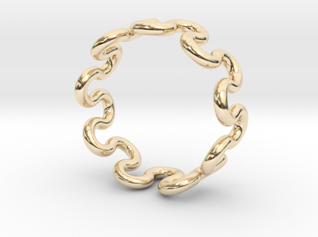 Wave Ring (25mm / 0.98inch inner diameter) in 14K Yellow Gold
