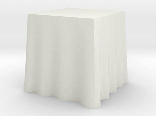 "1:48 Draped Table - 24"" square in White Strong & Flexible"