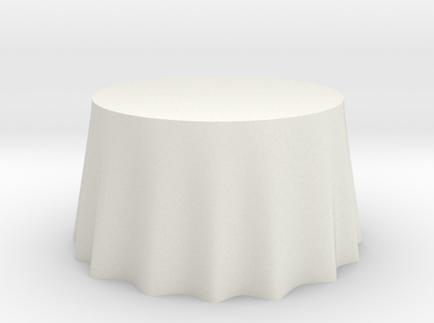 "1:48 Draped Table - 48"" diameter in White Natural Versatile Plastic"