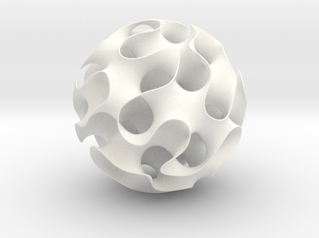 Gyroid, sphere cut in White Strong & Flexible Polished