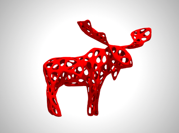 Wireframe Moose in White Processed Versatile Plastic