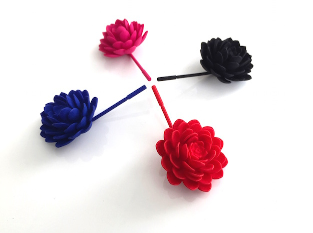 Succulent Lapel Flower in Red Strong & Flexible Polished