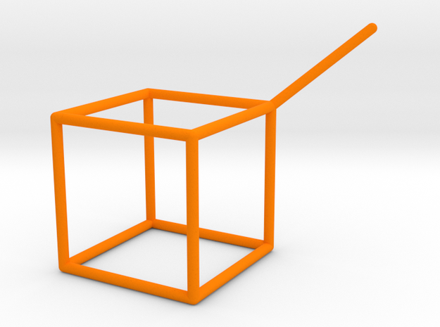 Wire Model for Soap: Cube in Orange Processed Versatile Plastic