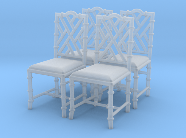 1:43 Chinese Chippendale Chair - Set of 4 in Smooth Fine Detail Plastic