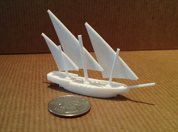 Xebec 3d printed With quarter to show scale