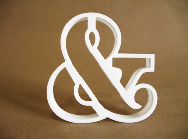 Ampersand typographic cookie cutter in White Natural Versatile Plastic
