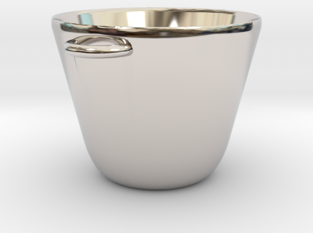 Mini Cooking Pot for Making Miniature Meals in Rhodium Plated Brass