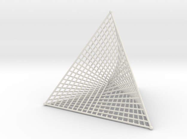 Ribbed Hemicube Tetrahedron in White Strong & Flexible