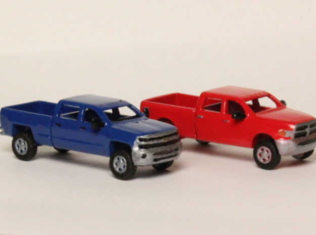 1:160 N Scale Chevy & Dodge Crew Cab Pickup Trucks in Frosted Ultra Detail