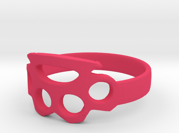 knuckle duster ring in Pink Strong & Flexible Polished